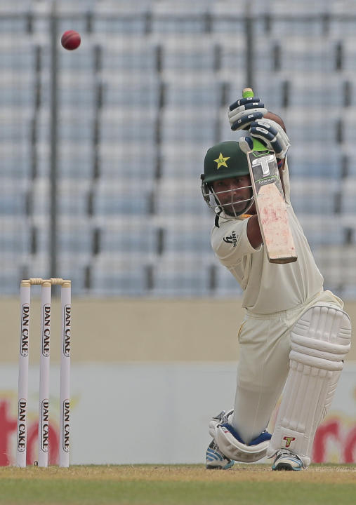 Pakistan's Asad Shafiq plays a shot during the second day of the second test cricket match against Bangladesh in Dhaka, Bangladesh, Thursday, May 7, 2015. (AP Photo/ A.M. Ahad)