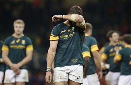 South Africa's Lood de Jager looks dejected at the end of the match