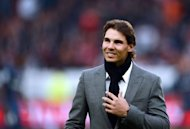 Spain's tennis player Rafael Nadal is pictured before the French L1 football match between Paris Saint Germain and Reims on October 20. Nadal, out of action since June, will miss the ATP Tour Finals in London and also next week's Paris indoor event at Bercy owing to his injured left knee, the ATP Tour has announced