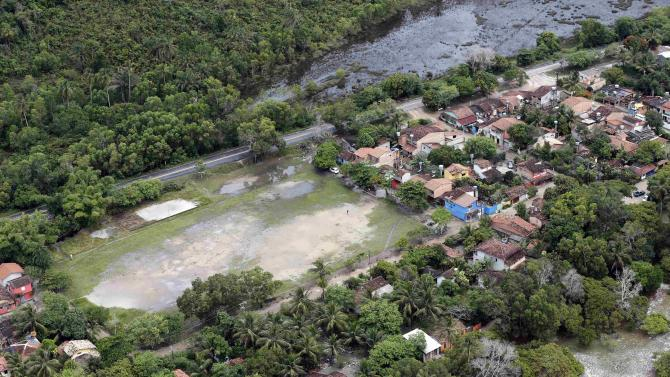 An aerial view of the village where Germany's national soccer team will be based during the 2014 FIFA World Cup in Santo Andre