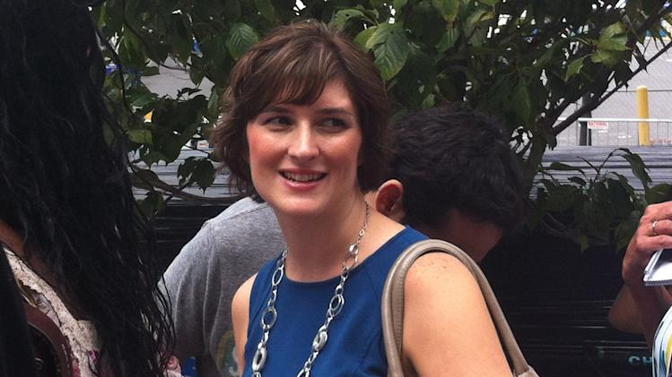 Activist Sandra Fluke is all smiles outside the Democratic National Convention arena on Thursday Sept. 6, 2012. (Jennie Josephson/Yahoo! News)