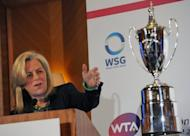 Stacey Allaster, Chairman and CEO of WTA, speaks duirng the announcement of WTA Championships being awarded to Singapore, on May 8, 2013. Singapore was named as host of the glitzy WTA Championships in a five-year deal from 2014, in a major boost for tennis in Asia