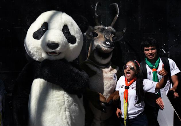 People protest next to characters dressed as wild animals during a march against climate change near the Monument to the Revolution, in Mexico City, Sunday, Nov. 29, 2015. The march came as the leader