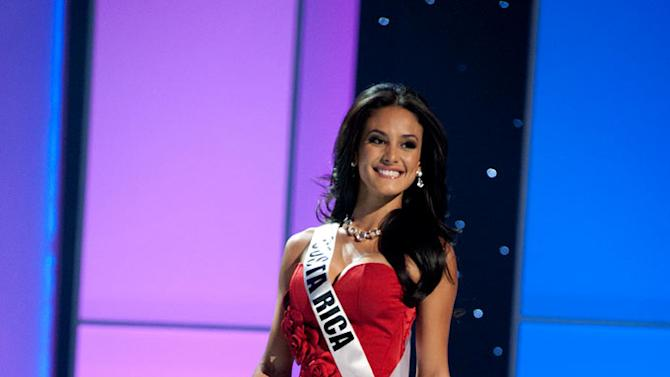 """Miss Costa Rica 2011, Johanna Solano competes in her choice evening gown, as one of the top 10 contestants, during the """"60th Annual Miss Universe"""" presentation show from São Paulo, Brazil."""