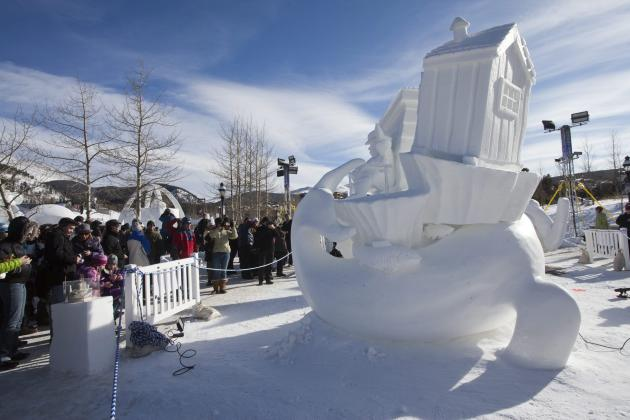 COMMERCIAL IMAGE - In this photograph taken by AP Images for Breckenridge Chamber Resort, the crowd surrounds Team Canada / Quebec's Great Expectations snow sculpture at the Breckenridge International