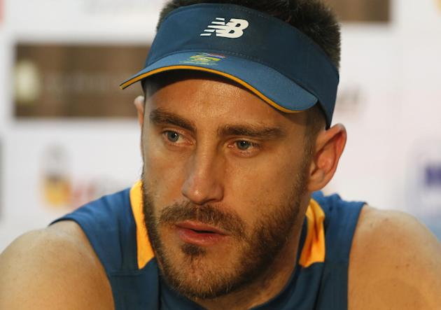 South Africa's Twenty20 captain Faf du Plessis addresses a press conference ahead of their first Twenty20 cricket match against Bangladesh in Dhaka, Bangladesh, Wednesday, July 1, 2015. The match is s