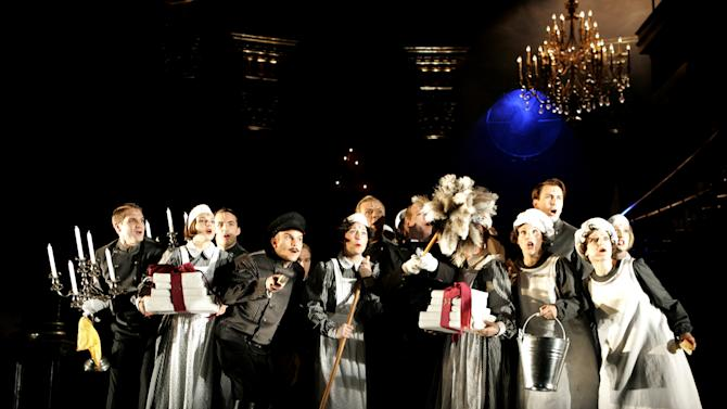 "FILE - In this photo from Saturday, Sept. 18, 2006, ensemble members perform during a dress rehearsal for the musical ""Rebecca"" at Vienna's Raimund Theatre. Producers for the Broadway production sued its publicist, Marc Thibodeau, in State Supreme Court in Manhattan on Tuesday, Jan. 29, 2013, claiming defamation and breach of contract and fiduciary duty. They claim that Thibodeau sent emails discouraging a possible investor from putting $2.25 million into the show, which is now on hold indefinitely after its collapse in 2012. (AP Photo/Stephan Tirerenberg, File)"