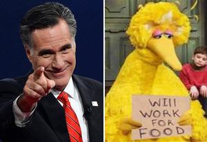 Mitt Romney, Big Bird | Photo Credits: Getty Images; Children's Television Workshop