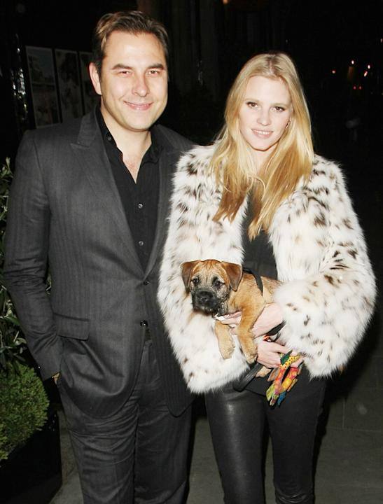 Celebrity pets: David Walliams and Lara Stone took their new pet pooch out on the town with them as the couple went to a fish restaurant in Mayfair. Okay then…