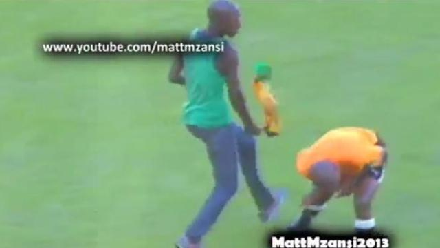 African Football - Fan attempts to hit referee with vuvuzela