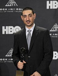 Gil Bianchini appears in the press room after accepting induction into the Rock and Roll Hall of Fame for his late mother, Laura Nyro, Friday, April 13, 2012, in Cleveland. (AP Photo/Amy Sancetta)