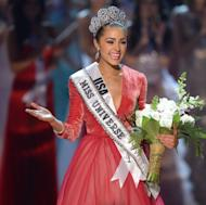 Miss USA, Olivia Culpo walks on stage after being named Miss Universe 2012 during the Miss Universe Pageant at Planet Hollywood in Las Vegas, Nevada on December 19, 2012
