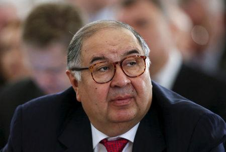 Russian businessman and FIE president Usmanov attends session during Week of Russian Business in Moscow