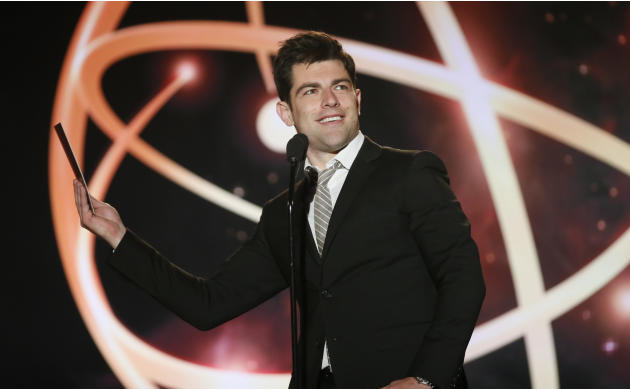 Max Greenfield presents a College Television Award at the 35th College Television Awards, presented by the Television Academy Foundation at The Leonard H. Goldenson Theatre in the NoHo Arts District o