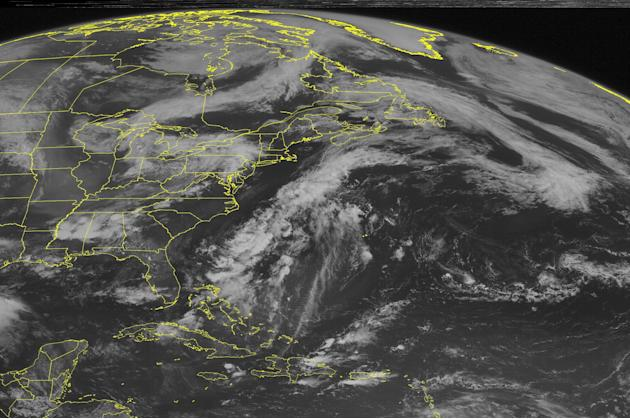 This NOAA satellite image taken Tuesday, June 30, 2015 at 09:45 AM EDT shows large squall lines of severe thunderstorms moving through the southeastern United States, the eastern Tennessee Valley, and