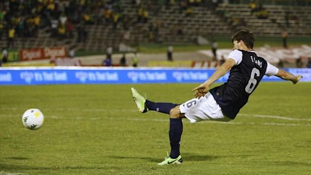 Brad Evans of the US scores their second goal against Jamaica in their 2014 World Cup qualifying match in Kingston (Reuters)