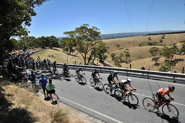 Richie Porte leads the peloton in the iconic Willunga Hill stage of the Tour Down Under