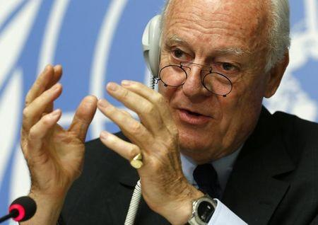UN Special Envoy for Syria de Mistura gestures during a news conference in Geneva