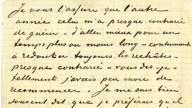 This undated photo provided by Profiles in History shows a Jan. 20, 1890 letter from artist Vincent Van Gogh to Joseph and Marie Ginoux. The letter, handwritten in French, is estimated to bring $200,000 to $300,000 when offered at auction by Profiles in History on Dec. 18, 2012. (AP Photo/Profiles in History)