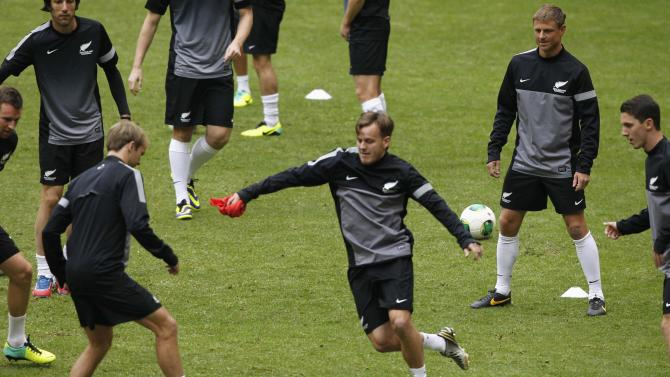 New Zealand's national soccer players attend a training session at Azteca stadium in Mexico City