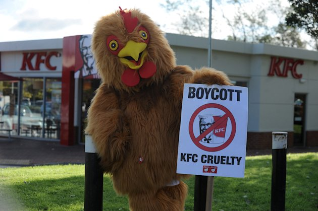 Animal rights protestor Olly Tyler, who was pelted with food and rugby tackled after he mounted this fancy dress campaign outside the KFC in Trowbridge.