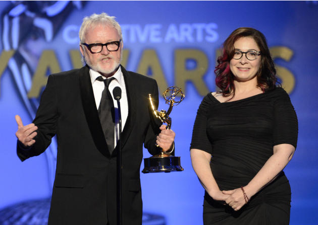 From left, Bill Groon and Carol Silverman accept the award for Outstanding Art Direction For A Single-Camera Series for Boardwalk Empire onstage at the 2013 Primetime Creative Arts Emmy Awards, on Sun