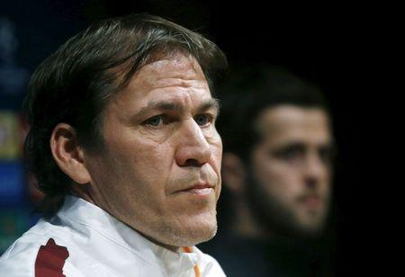 AS Roma's coach Rudi Garcia attends a news conference, a day ahead of their soccer Champions League match against FC Barcelona, at Camp Nou stadium in Barcelona