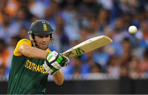 South Africa's AB de Villiers plays a shot during a Cricket World Cup Pool B match in Melbourne, on February 22, 2015