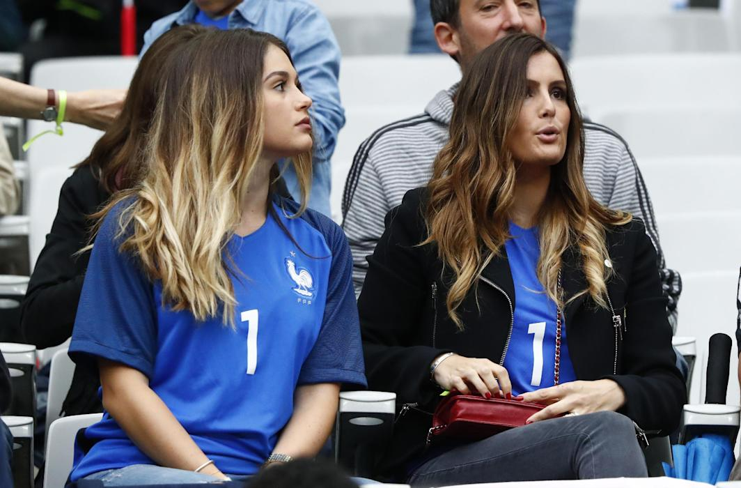Wife of France's Hugo Lloris, Marine Lloris (R) in the stands
