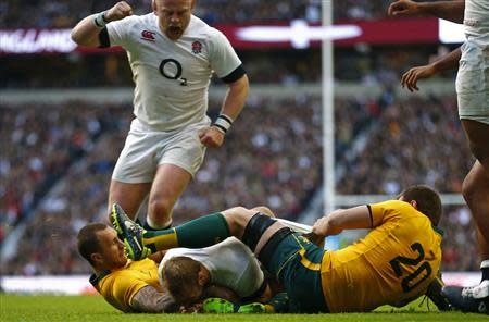 England's Robshaw scores a try against Australia during their international rugby union match in London