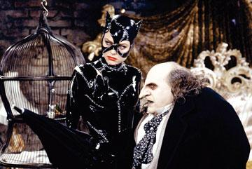 Michelle Pfeiffer as Catwoman and Danny DeVito as The Penguin in Warner Bros. Pictures' Batman Returns