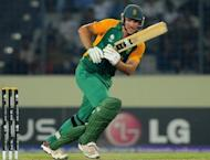 """South African captain Graeme Smith plays a shot during the quarter-final match of the ICC World Cup 2011 against New Zealand at the Sher-e-Bangla stadium in Dhaka 2011. South Africa's convenor of selectors Andrew Hudson has labelled as """"awesome"""" the team that will tackle England in a mid-year three-Test cricket series"""
