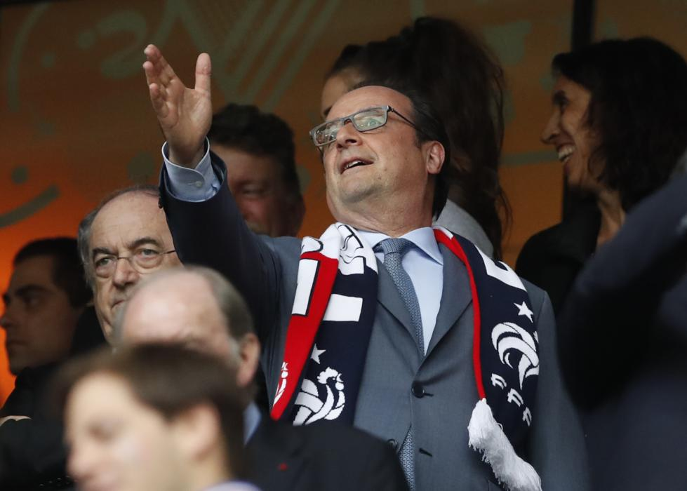 France's president Francois Hollande in the stands