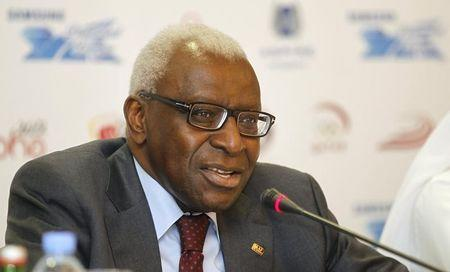 IAAF President Diack speaks during a news conference for the Diamond League athletics meet in Doha
