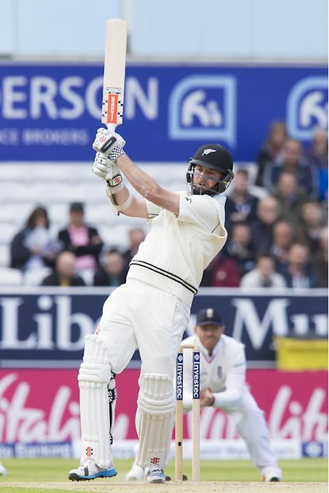 New Zealand's Mark Craig plays a ball from Stuart Broad on the second day of the second Test match between England and New Zealand at Headingley cricket ground in Leeds, England, Saturday, May 30,