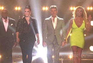 X Factor USA Fash Off: Britney Spears In Skintight Yellow Vs. Demi Lovato In Black Sparkles