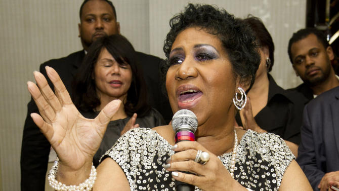 FILE - In this March 24, 2012, file photo Grammy-winning singer Aretha Franklin attends her seventieth birthday party in New York. Franklin, in a letter distributed Friday, July 12, 2013, by her publicist, canceled a Detroit-area performance set for July 27, citing ongoing treatment. (AP Photo/Charles Sykes, File)
