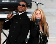 Usher and Shakira perform in front of the Lincoln Memorial during the 'We Are One: The Obama Inaugural Celebration At The Lincoln Memorial' on January 18, 2009 at the National Mall in Washington, DC -- Getty Images