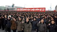"""This picture, taken by North Korea's official Korean Central News Agency on February 14, 2013, shows more than 100,000 troops and civilians staging a mass rally in Pyongyang to celebrate North Korea's nuclear test and praise the """"matchless"""" bravery of leader Kim Jong-Un"""