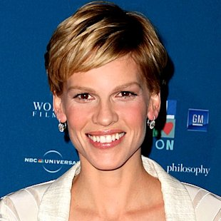 Hilary Swank wearing her new blonde hair color.