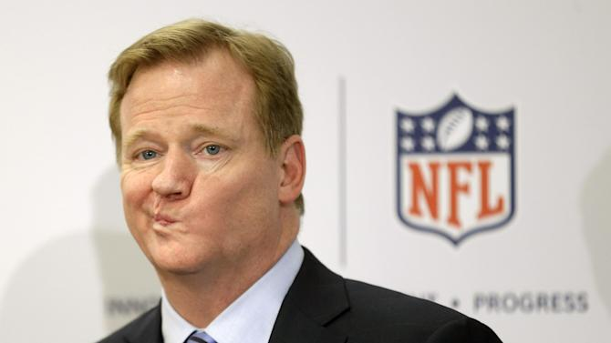 In this March 11, 2013, file photo, NFL Commissioner Roger Goodell takes questions during a news conference in New York. Marijuana is casting an ever-thickening haze across NFL locker rooms, and it's not simply because more players are using it. As attitudes toward the drug soften, and science slowly teases out marijuana's possible benefits for concussions and other injuries, the NFL is reaching a critical point in navigating its tenuous relationship with what is being recognized, more and more, as the analgesic of choice for many of its players