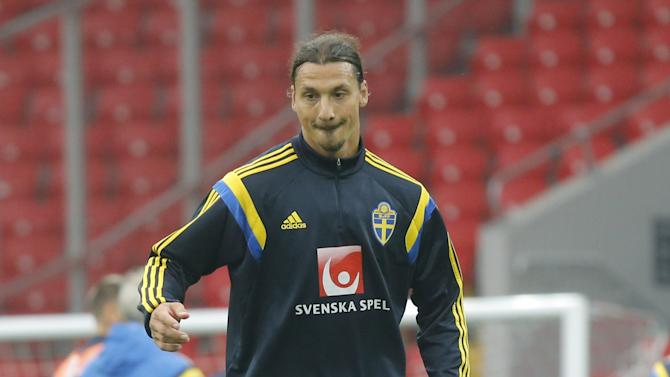 Sweden's national team player Ibrahimovic attends a training session at the Otkrytie Arena stadium in Moscow