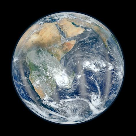 """This photo from NASA's Suomi NPP satellite shows the Eastern Hemisphere of Earth in """"Blue Marble"""" view. The photo, released Feb. 2, 2012, is a companion to a NASA image showing the Western Hemisphere in the same stunning detail. This photo was"""