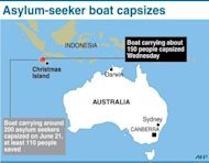 Graphic map showing Christmas Island. Rescuers have plucked 130 people from the ocean after an asylum-seeker boat sank en route to Australia, barely a week after another vessel went down in the same area, killing up to 90