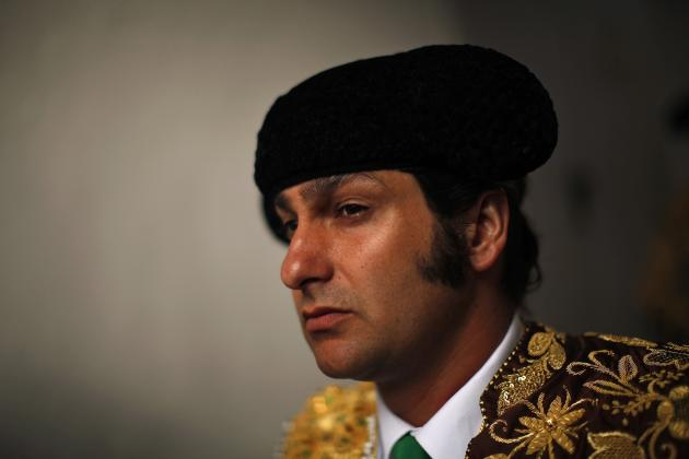 Spanish bullfighter Morante de la Puebla looks on while waiting for the start of a bullfight at the Malagueta bullring in Malaga
