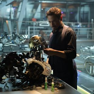 "This photo provided by Disney/Marvel shows, Robert Downey Jr. as Iron Man/Tony Stark in the film, ""Avengers: Age Of Ultron."" The movie releases in U.S. theaters on May 1, 2015. (Jay Maidment/Disney/Marvel via AP)"