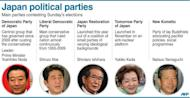 Japan's major political parties and their leaders. Voters began casting ballots in Japan on Sunday for a general election likely to return long-ruling conservatives to power after three years in the wilderness