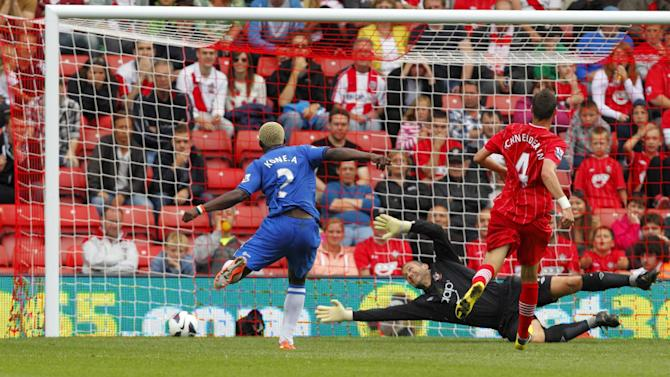 Arouna Kone, left, scored Wigan's second goal against Southampton