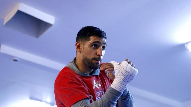 Amir Khan in action during the workout