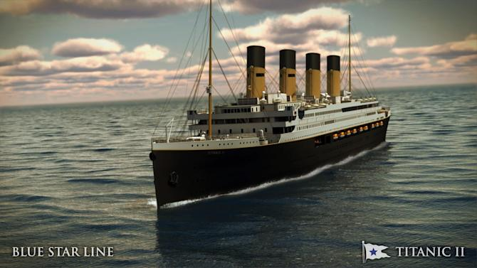 In this rendering provided by Blue Star Line, the Titanic II is shown cruising at sea. The ship, which Australian billionaire Clive Palmer is planning to build in China, is scheduled to sail in 2016. Palmer said his ambitious plans to launch a copy of the Titanic and sail her across the Atlantic would be a tribute to those who built and backed the original. (AP Photo/Blue Star Line)